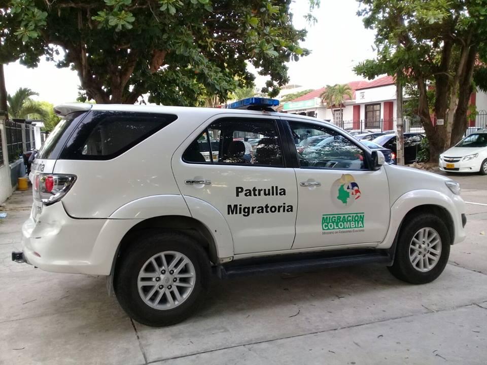 Voiture de patrouille de la migration colombienne