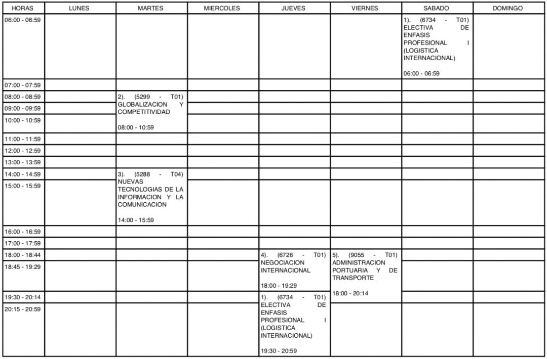 Agenda cours Colombie université