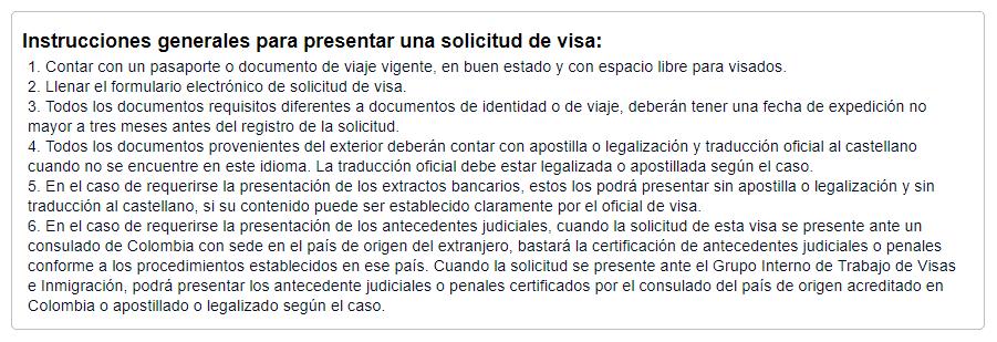 liste documents demande de visa colombien