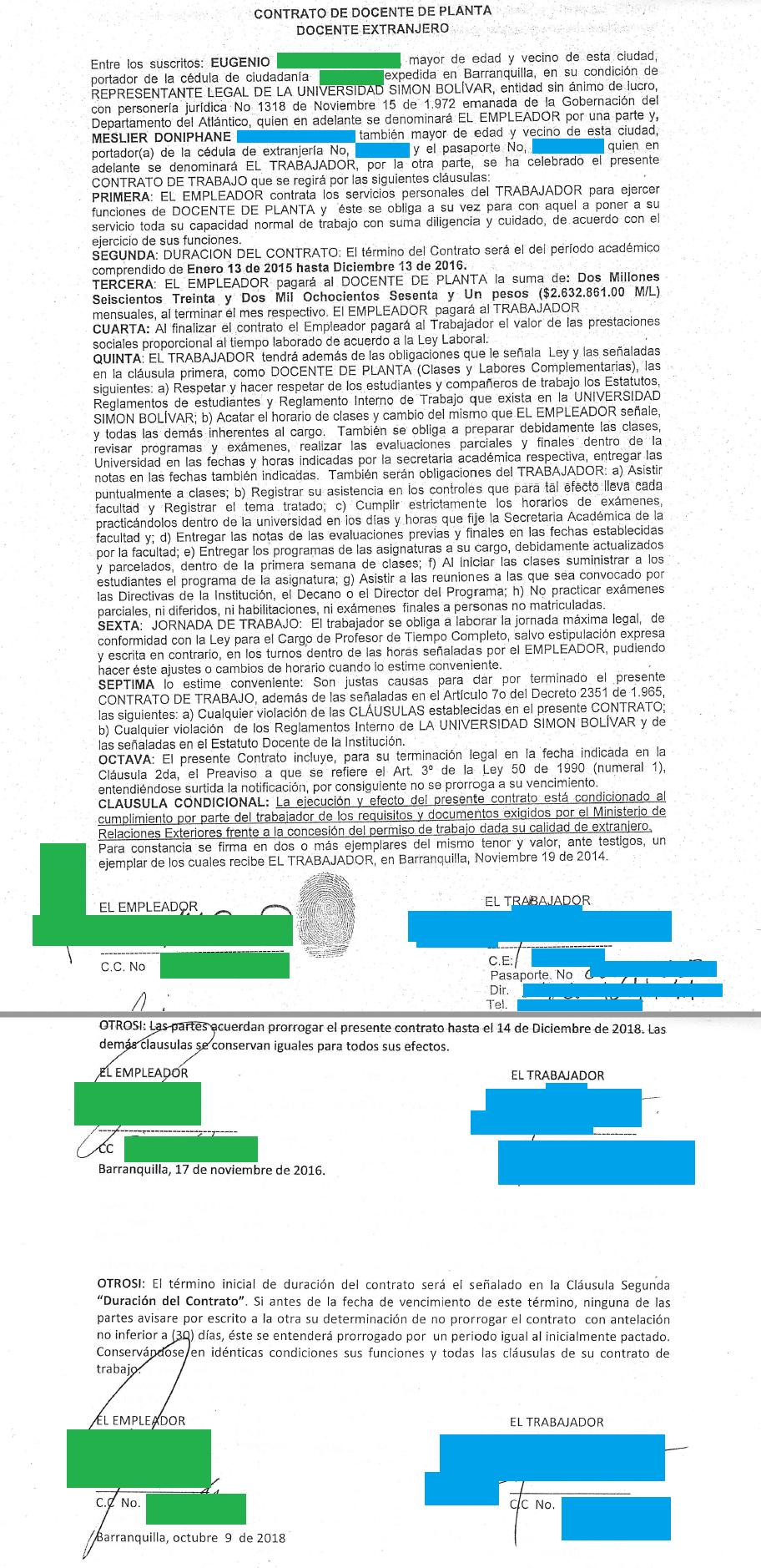 visa R contrat de travail colombien