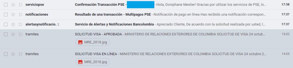 boite mail visa résident Colombie