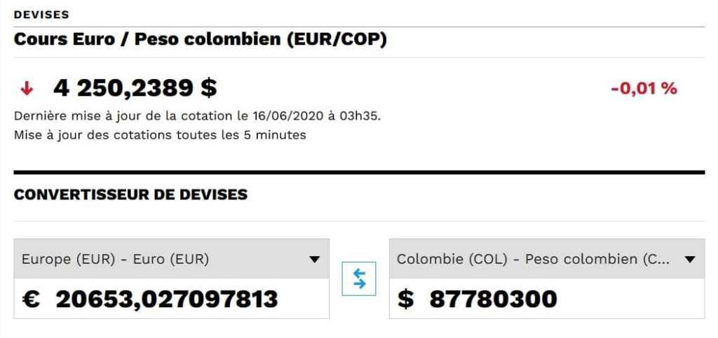 Taux de change euros/pesos colombiens