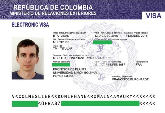 Visa de travail colombien obtenu en 2016