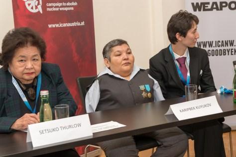 Setuko Thurlow y Karipbek Kuyukov, sobrevivientes de Hiroshima y de los ensayos nucleares en Semipalatinsk (centro de pruebas de la antigua URSS) , respectivamente © ICAN