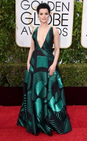 Jaimie Alexander in Genny The Blindspot actress took the greatest risk of the evening and it payed off. Alexander wore a forest green gown complete with geometric shapes and a plunging neckline. Photo provided by Pinterest.