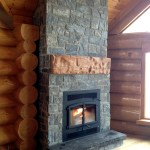 Elite Blue Granite Squared logcabin fireplace