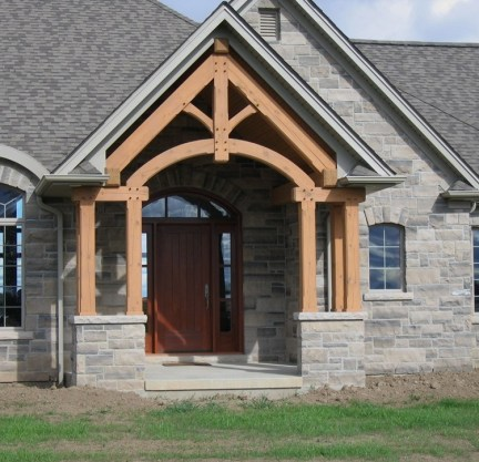Brown Limestone Ledgerock House Front after Installation
