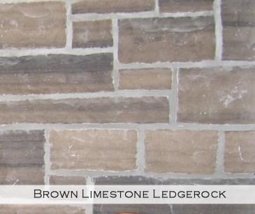 brown limestone ledgerock veneer closeup