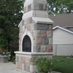 century brick outdoor fireplace side