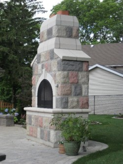 century stone outdoor fireplace