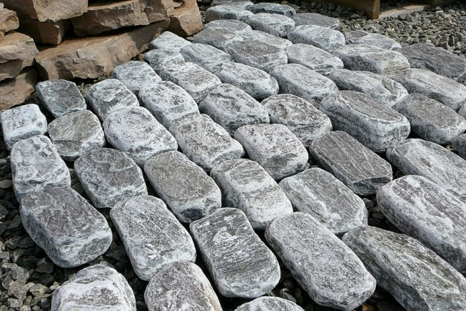 elite blue granite cobbles at installation