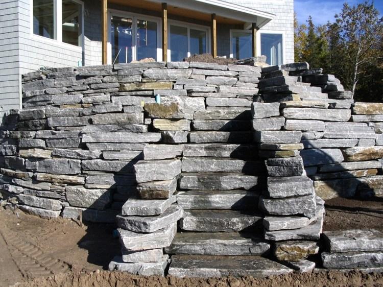 Elite Blue Granite Drystack Wall & Steps