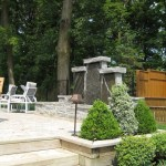 elite blue granite pillar water feature side view