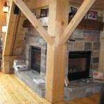 granite blend sawn and chiseled fireplace