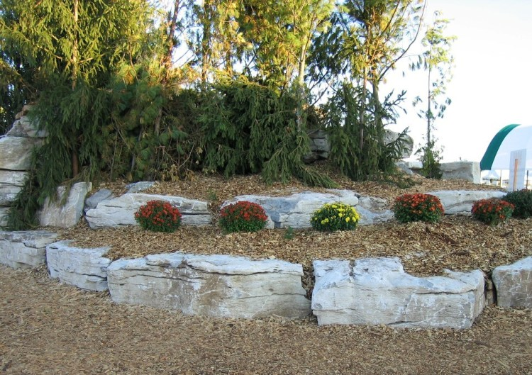 Natural Stone Flowerbed