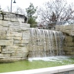 limestone sawn waterfall side view