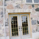 random split fieldstone basement entrance
