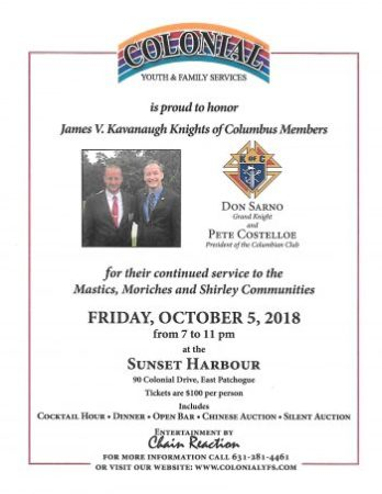 Colonial Youth and Family Services is proud to honor James V. Kavanaugh Knights of Columbus Members. @ Sunset Harbor