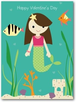 mermaid_princess-valentine's_day_cards_for_kids-ann_kelle-bay-green