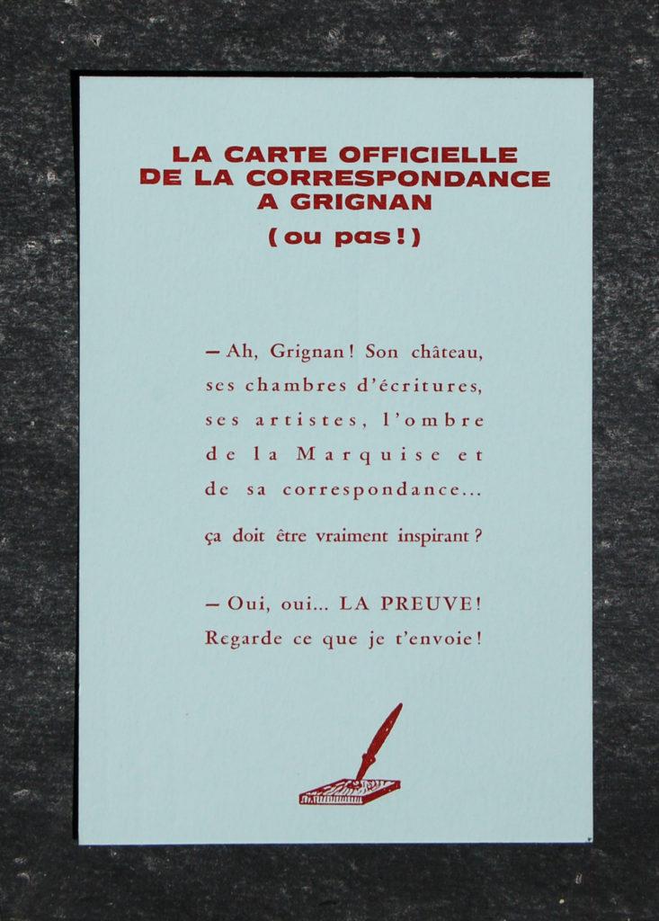 Carte postale Correspondance Grignan - Colophon, Maison de l'Imprimeur