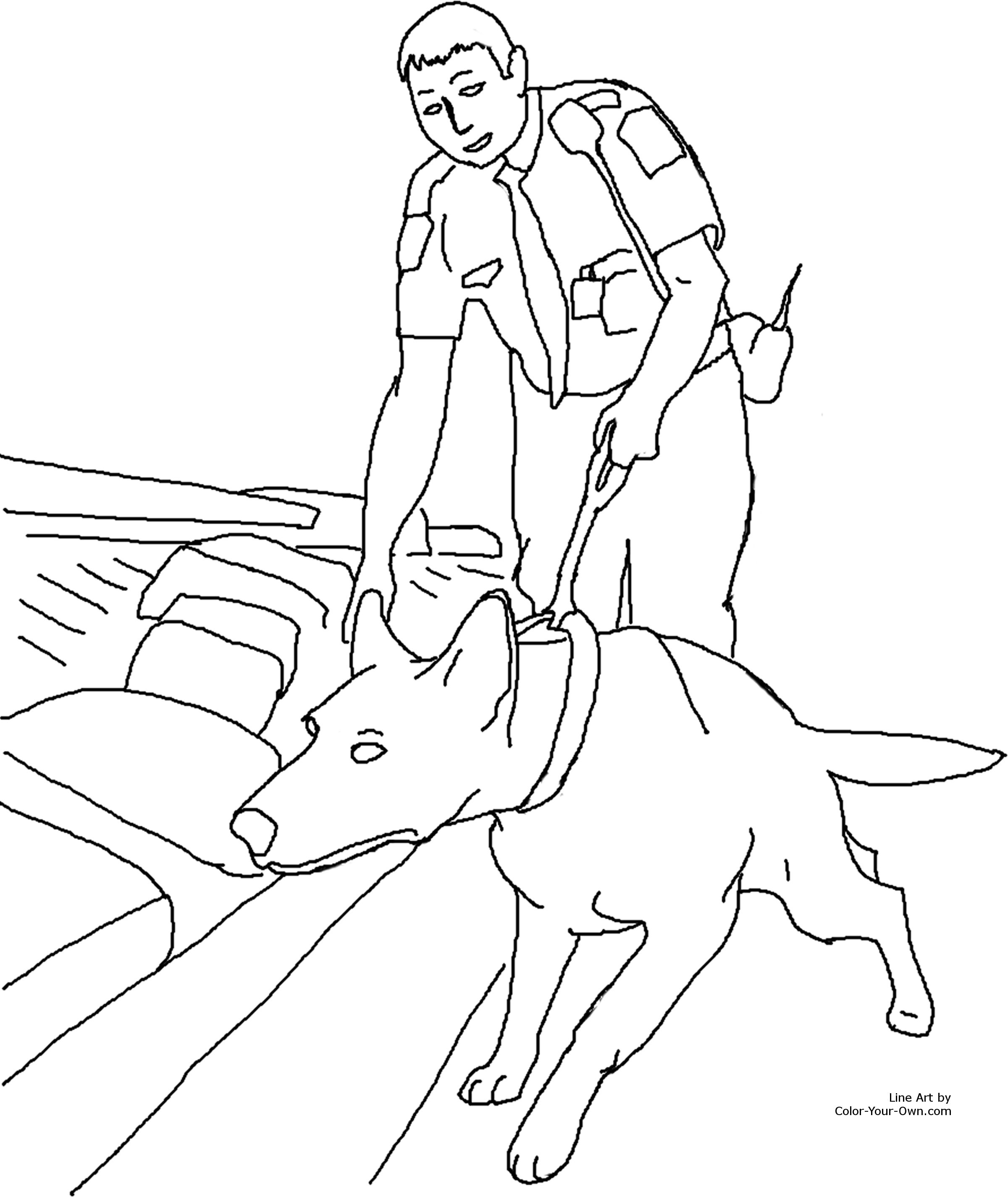 Drug Detection Service Dog Coloring Page