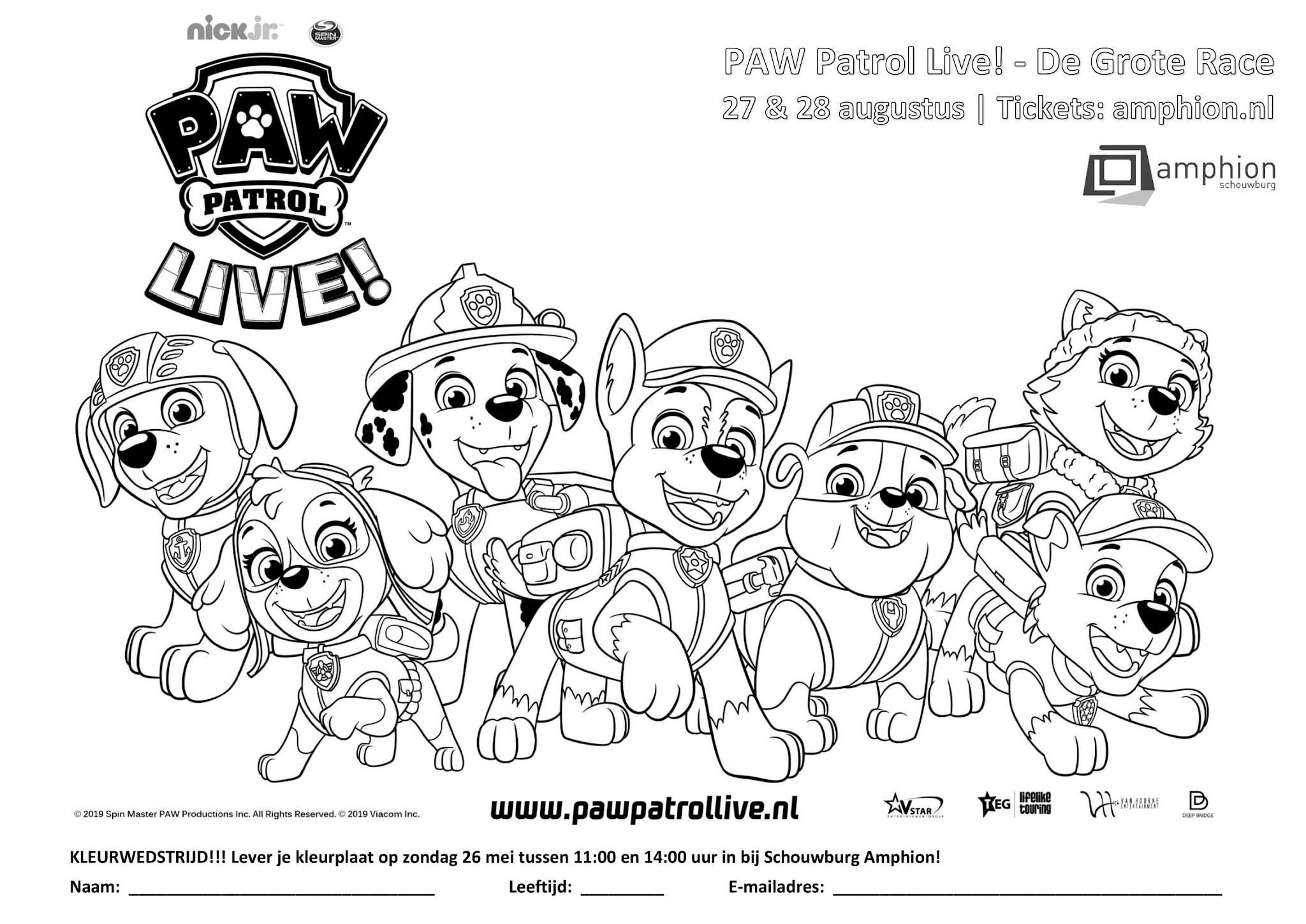 paw patrol kleurplaat kleurplaat