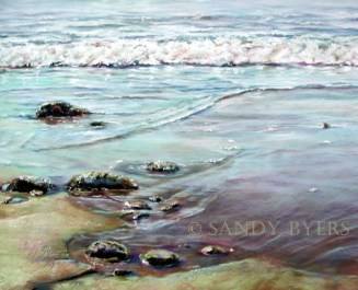 No Shoes Required SOLD (16x20 dry pastel). I kept wanting to take my shoes off when I was painting this seascape. This beach is at Ebey's Landing on Whidbey Island (WA). It almost seems as if a clam will squirt or a crab will scurry by any second.