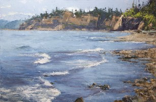 Port Townsend Shores $1995 (24 x 36 oil, gallery wrap). sun sits high on cliff tops.