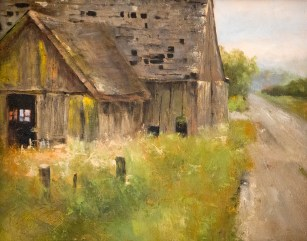Swallow's Barn 925 (11x14 oil on panel). Painted en plein air (outdoors) this is from a special place in the Skagit Valley. A place where old barns hang on and days of past are reflected in their windows.
