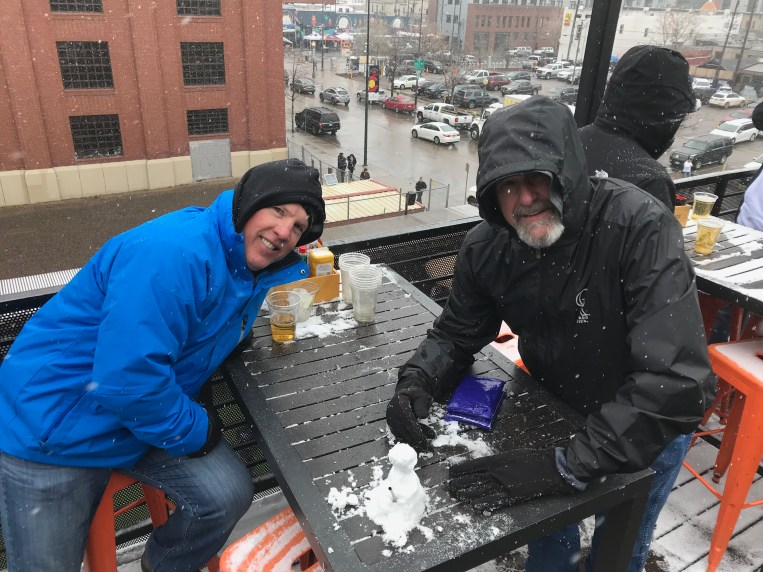Scott and Charlie built a snowman at The Viewhouse! (Image credit: Jen Cage, Our Community Now)