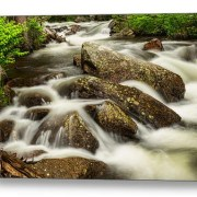 Cascading-Water-Rocky-Mountain-Rocks-Canvas-Art-Print