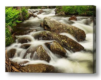 Cascading-Water-Rocky-Mountain-Rocks-Canvas-Art-Print