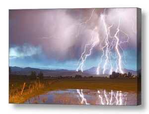 Lightning Striking Longs Peak Foothills Canvas Wall Art Print