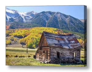 Rustic Rural Colorado Cabin Autumn Landscape Canvas Print