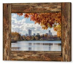 Denver City Skyline Barn Window View Canvas Print