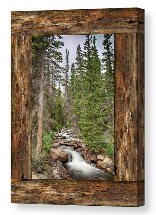 Mountain Stream Rustic Cabin Window View Canvas Print