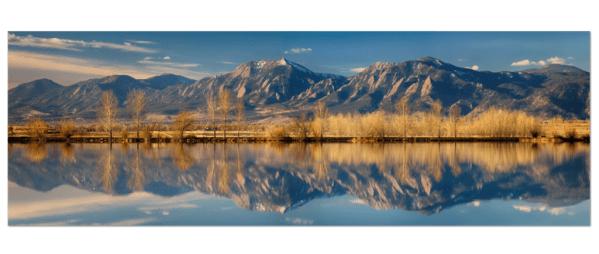 Flatirons Colorado Reflections Panorama Art Prints