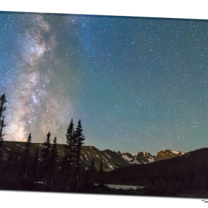 Middle of the Night Milky Way Above the Rocky Mountains 32″x48″x1.25″ Premium Canvas Gallery Wrap Art