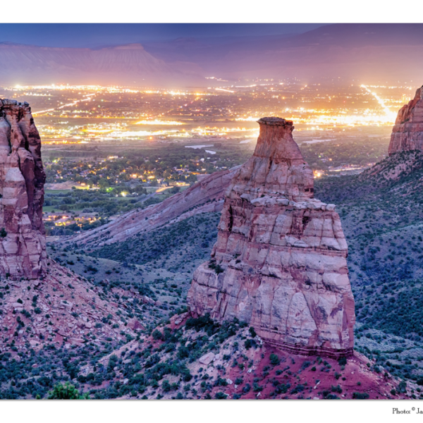 "Colorado Independence Monument And City Lights Of Grand Junction 32""x48""x1.25"" Premium Canvas Gallery Wrap"