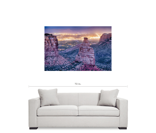 """Colorado Independence Monument And City Lights Of Grand Junction 32""""x48""""x1.25"""" Premium Canvas Gallery Wrap"""