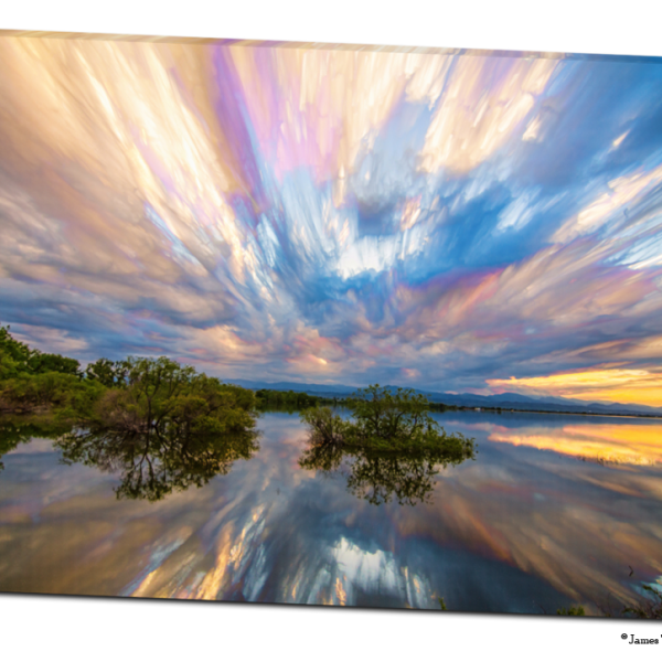 "Sunset Lake Reflections Timed Stack 32""x48""x1.25"" Premium Canvas Gallery Wrap Art"