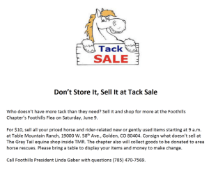 Tack Sale @ Table Mountain Ranch |  |  |