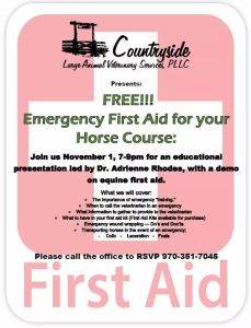 Emergency First Aid for your Horse Course @ Countryside Large Animal Veterinary Services |  |  |