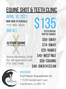 Equine teeth/shot clinic @ Full Moon Equestrian         
