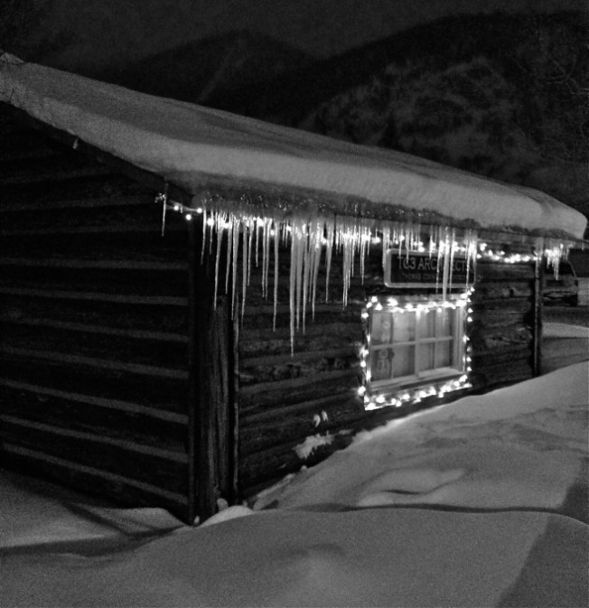 Night glow from a cabin along Main Street, Frisco.