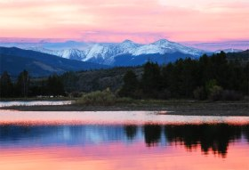 Evening glow on Dillon Reservoir.