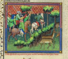 """Preparing an Ambush"" from Gaston Phoebus's Livre de la chasse, ca. 1407; MS M. 1044 (fol. 102)"