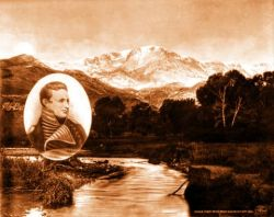 Photomontage of Pikes Peak including a portrait of Zebulon Pike