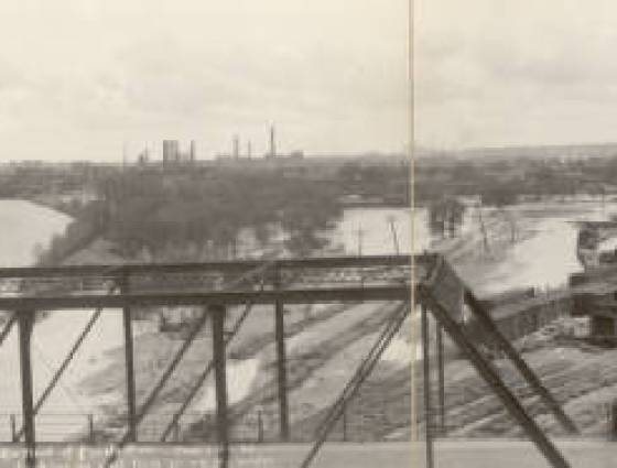 Panoramic view of flooded area looking east from the W. 4th Street bridge, June 3, 1921.