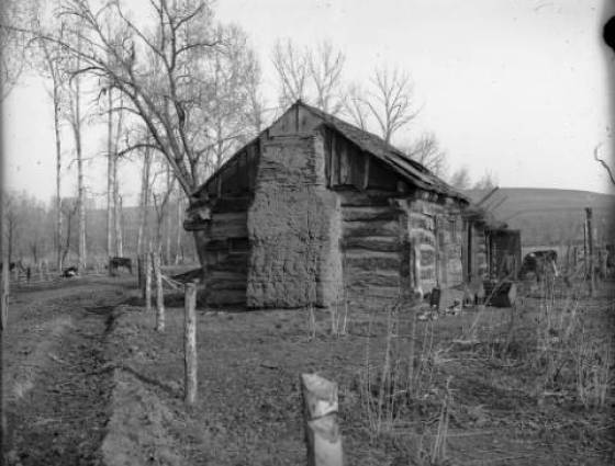 John McBroom's cabin on Bear Creek, settled in 1858. He stands next to a dirt road near Ft. Logan - 1870-1890.